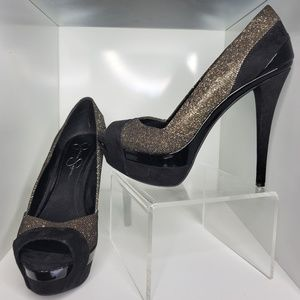 Black and Gold Glitter Peep Toe Pumps